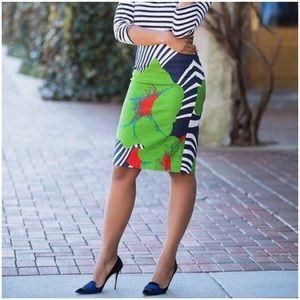 J. CREW Ratti Print Floral Striped Pencil Skirt 2
